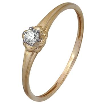 кольцо c фианитом из красного золота 1200202012