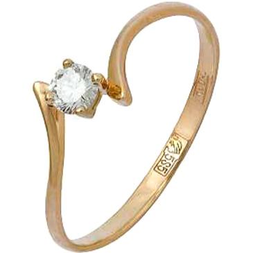 кольцо c фианитом из красного золота 11028417