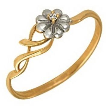 кольцо c фианитом из красного золота 1200201282