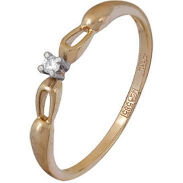 кольцо c фианитом из красного золота 11028581