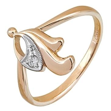 кольцо c фианитом из красного золота 11028020