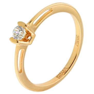 кольцо c фианитом из красного золота 11028088