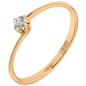 кольцо c фианитом из красного золота 11028125