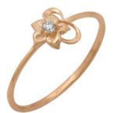 кольцо c фианитом из красного золота 1200001390