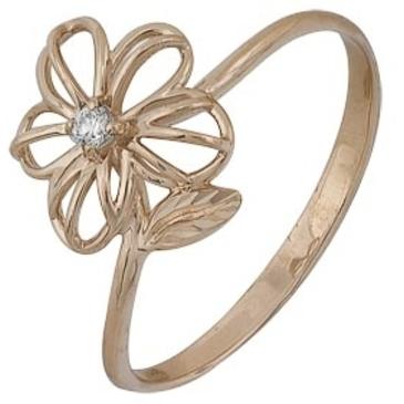кольцо c фианитом из красного золота 1201301906