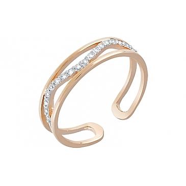 Кольцо на фалангу с дорожкой фианитов из красного золота 120409