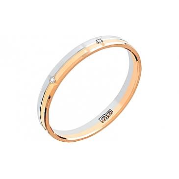 Кольцо обручальное с фианитом из красного золота 79402