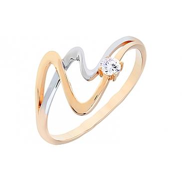 Кольцо с алмазкой и фианитом из красного золота 72515