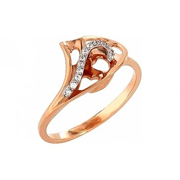 Кольцо с фианитами из красного золота 101626