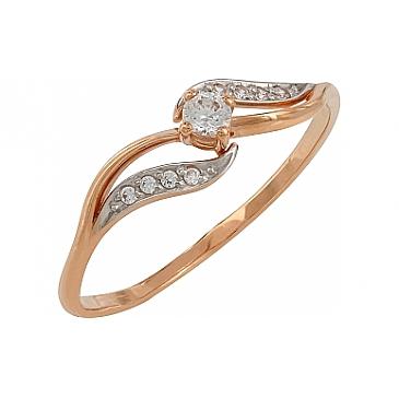 Кольцо с фианитами из красного золота 107783