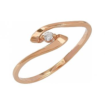 Кольцо с фианитами из красного золота 107786