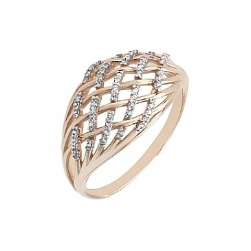 Кольцо с фианитами из красного золота 108687 от EVORA