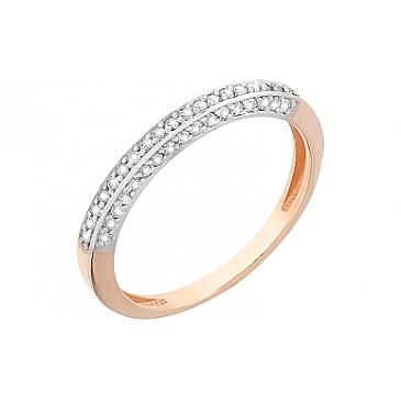 Кольцо с фианитами из красного золота 112666 от EVORA