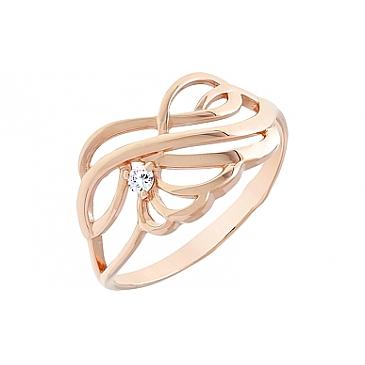 Кольцо с фианитами из красного золота 112318 от EVORA