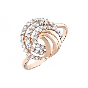 Кольцо с фианитами из красного золота 112325