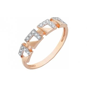Кольцо с фианитами из красного золота 115814