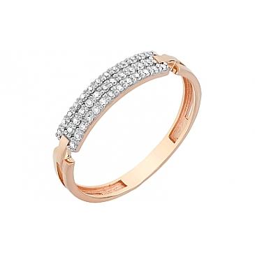 Кольцо с фианитами из красного золота 115955