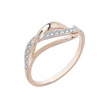 Кольцо с фианитами из красного золота 116586