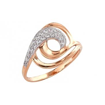 Кольцо с фианитами из красного золота 101556 от EVORA
