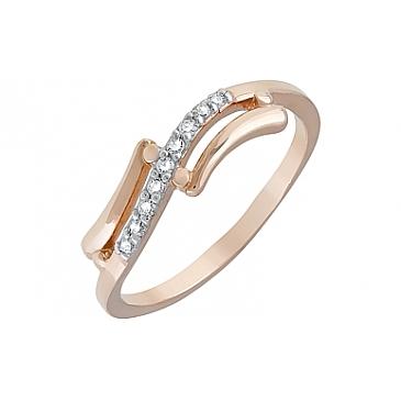 Кольцо с фианитами из красного золота 120655