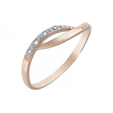 Кольцо с фианитами из красного золота 120657