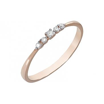 Кольцо с фианитами из красного золота 120656
