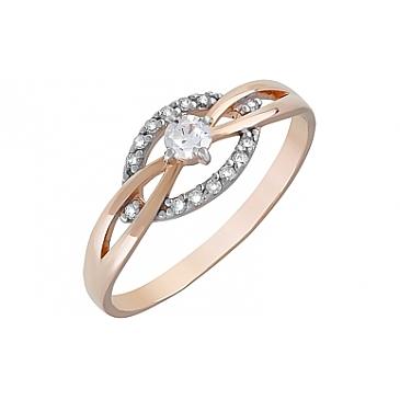 Кольцо с фианитами из красного золота 120677