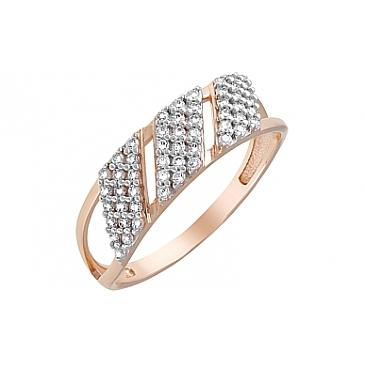 Кольцо с фианитами из красного золота 120622
