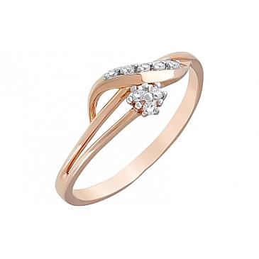 Кольцо с фианитами из красного золота 120623