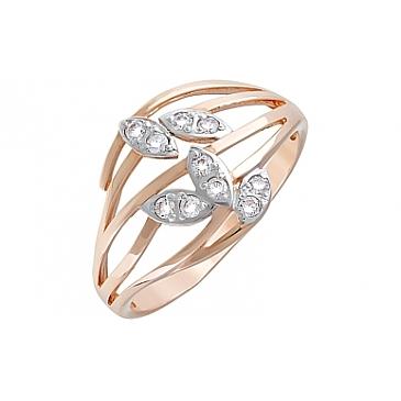 Кольцо с фианитами из красного золота 120625
