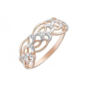 Кольцо с фианитами из красного золота 120626