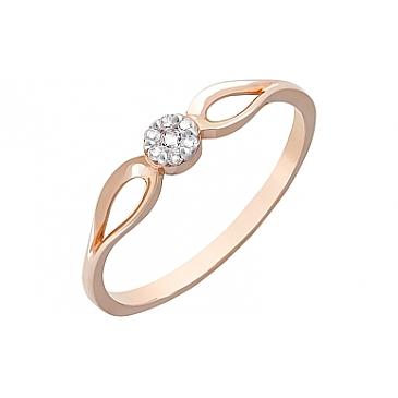 Кольцо с фианитами из красного золота 121568