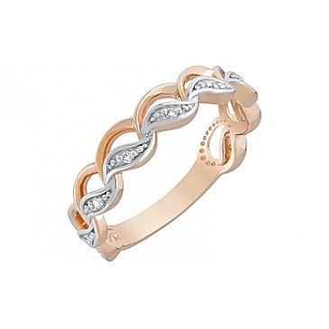 Кольцо с фианитами из красного золота 121709