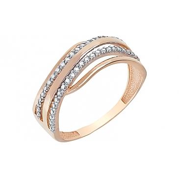 Кольцо с фианитами из красного золота 116370