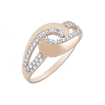 Кольцо с фианитами из красного золота 121978 от EVORA
