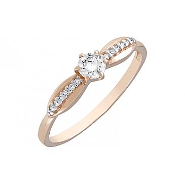 Кольцо с фианитами из красного золота 121982