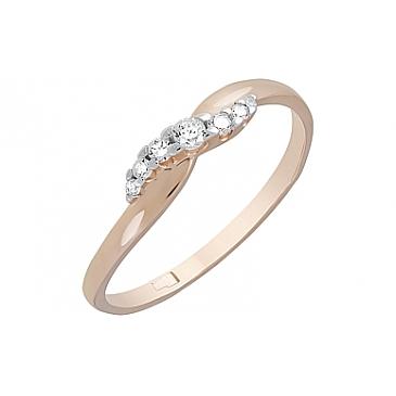 Кольцо с фианитами из красного золота 121867