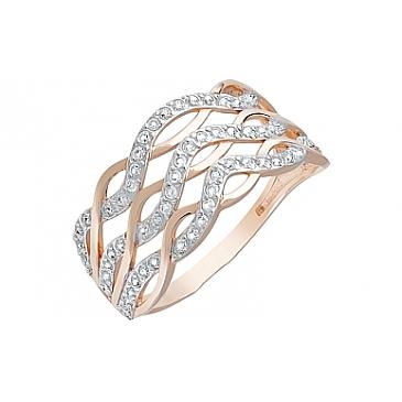 Кольцо с фианитами из красного золота 121897