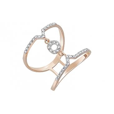 Кольцо с фианитами из красного золота 122308