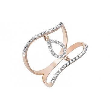 Кольцо с фианитами из красного золота 122304