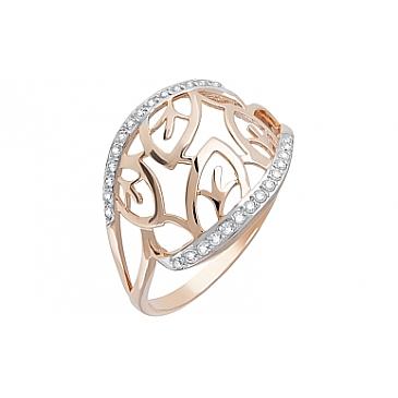 Кольцо с фианитами из красного золота 123389