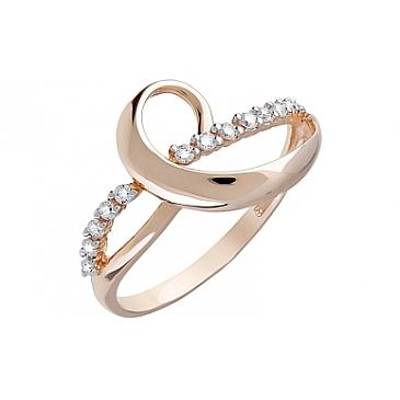 Кольцо с фианитами из красного золота 123648