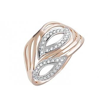 Кольцо с фианитами из красного золота 123651