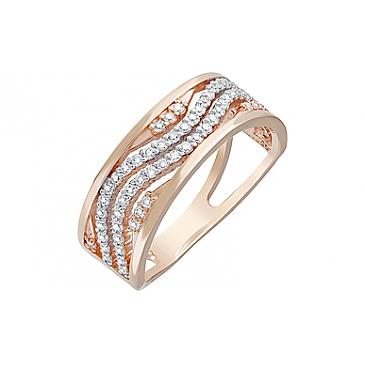 Кольцо с фианитами из красного золота 123010
