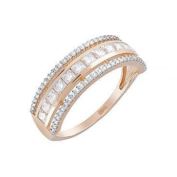 Кольцо с фианитами из красного золота 123743 от EVORA
