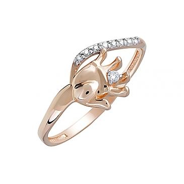 Кольцо с фианитами из красного золота 124019
