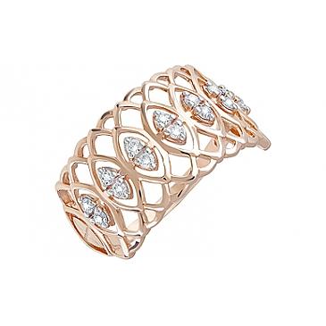 Кольцо с фианитами из красного золота 123643 от EVORA