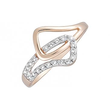 Кольцо с фианитами из красного золота 124713