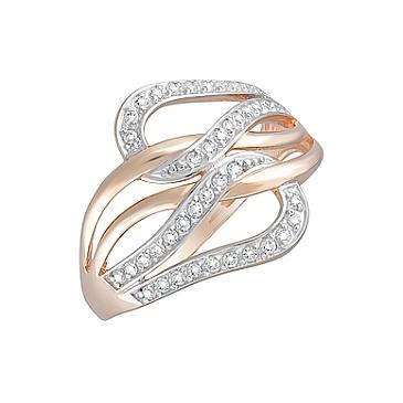 Кольцо с фианитами из красного золота 124715