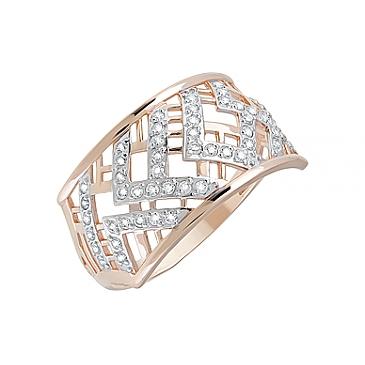 Кольцо с фианитами из красного золота 123826